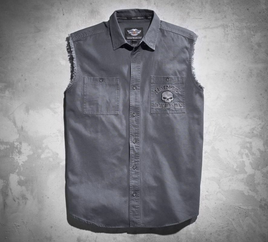 Harley-Davidson Men's Skull Blowout Shirt Grey 99029-17VM