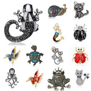 Vintage-Animal-Cat-Bird-Mermaid-Crystal-Pearl-Brooch-Pin-Christmas-Jewelry-Gift