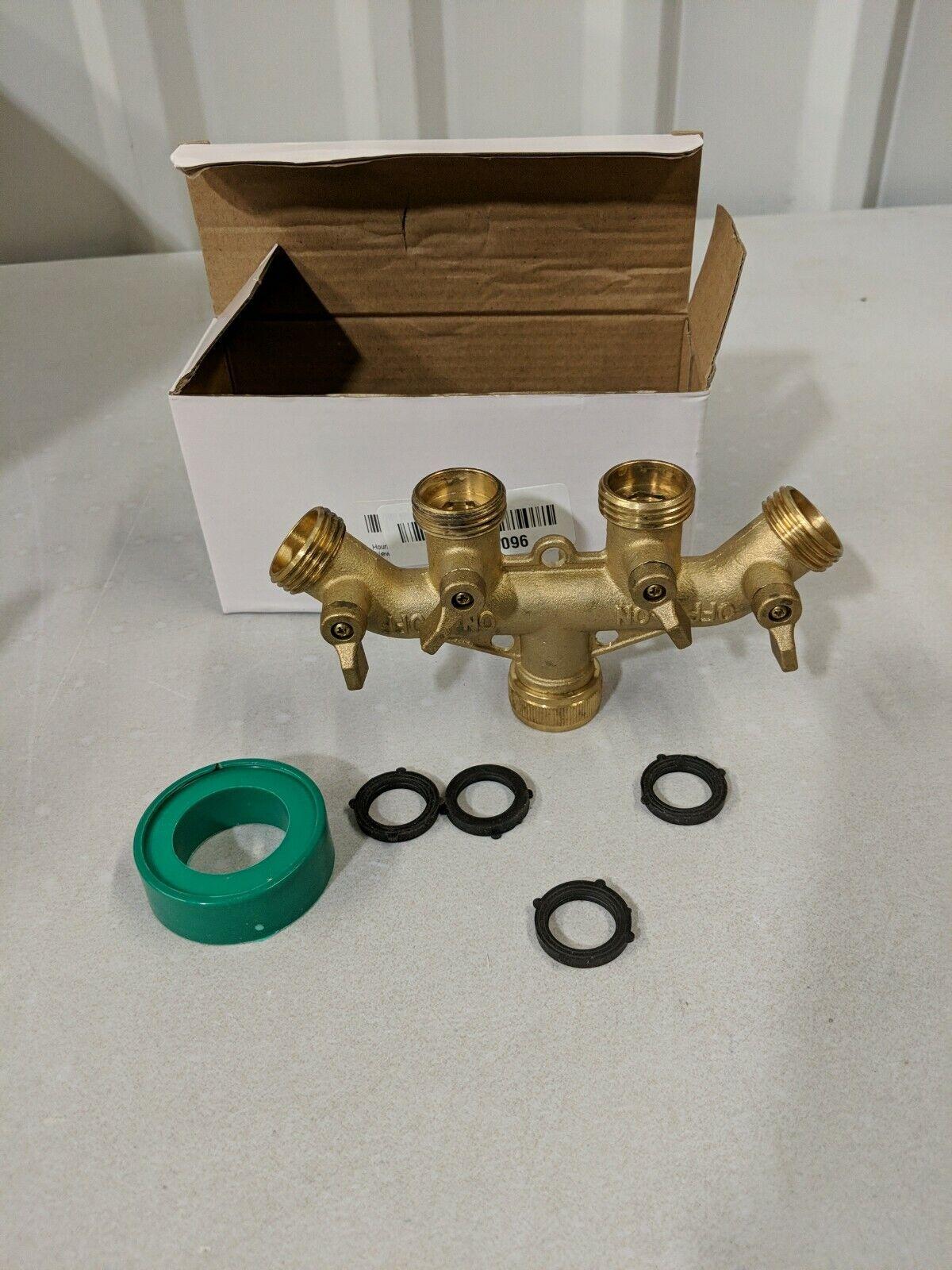 OPEN Hourleey Brass Garden Hose Splitter (4 Way) Solid Brass Hose Connector 3/4