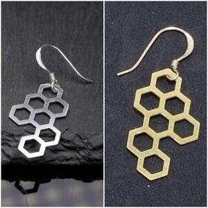 Aus Dem Ausland Importiert Paar Waben Ohrhänger Moderne Grafik Ohrringe - Silber - Gold