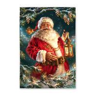 Enchanted Santa Claus With Lantern Christmas Holiday Small Banner Flag 12.5x18