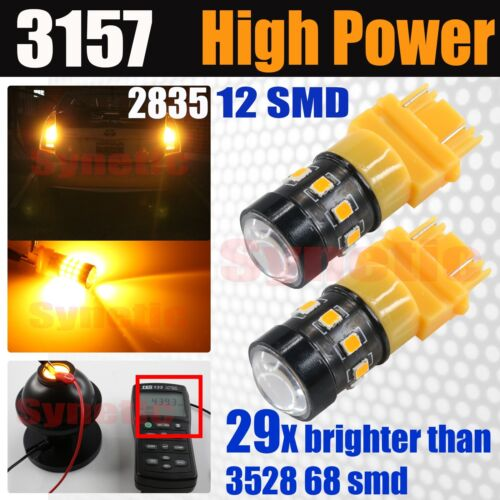 2X 3157 4114 5702A Amber Yellow 12-LED Turn Signal Parking DRL Lamp Light Bulbs