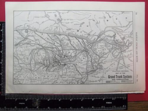 100 YEAR OLD 1916 GRAND TRUNK EASTERN SECTION RAILROAD SYSTEM MAP GT RR HISTORY
