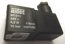 Airtec Solenoid Coil SP 011 24v dc 4.2w 175mA 10 Bar with Din Plug