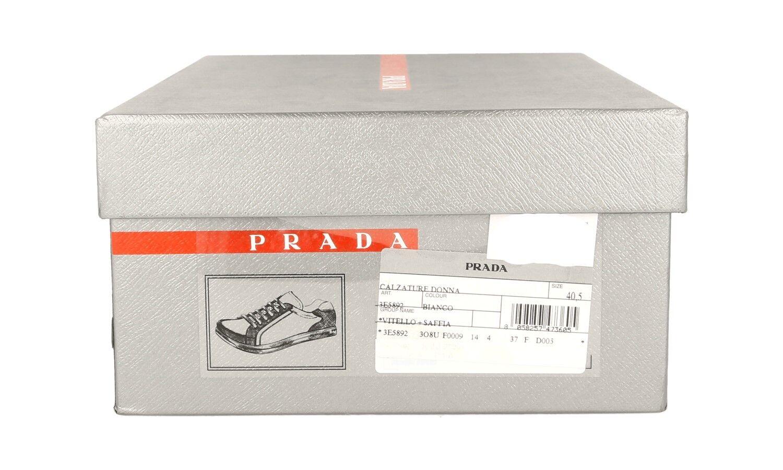 LUXUS PRADA SAFFIANO SNEAKER SNEAKER SNEAKER SCHUHE 3E5892 WEISS NEU NEW 40 40,5 UK 7 066884