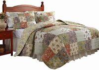 King Size Quilt Bedding Set 3 Pc Reversible Patchwork 100% Cotton Oversized,