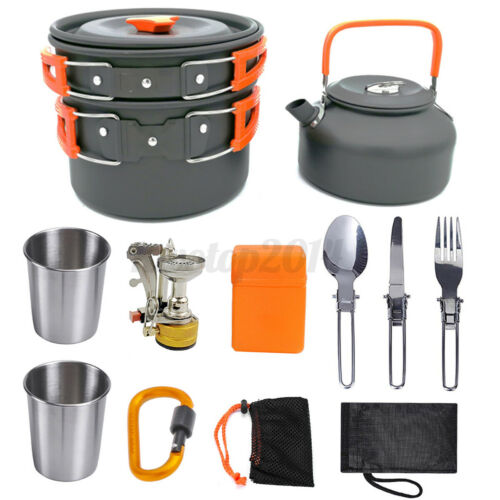 10Pcs Outdoor Portable Camping Hiking Cooking Nonstick Pots Pans Cookware Set