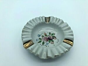 Vintage Ceramic Ashtray Round Japan Flowers 3 inch as10