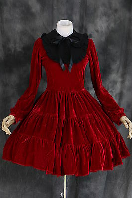 M-521 Gr. L rot red Samt Cosplay Gothic Lolita Kleid Kostüm dress Rokoko