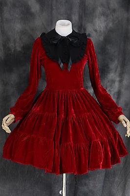 M-521 Gr. L rot red Samt Cosplay Gothic Lolita Kleid Kostüm dress Rokoko