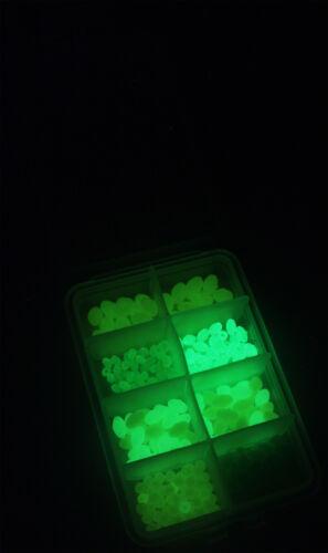 teilweise selbstleuchtend Gummiperlen Plastikperlen in Sortimentsbox zum Angeln
