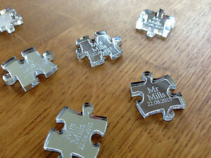 Personalised Silver Mirror Puzzle Piece Wedding Table Decoration