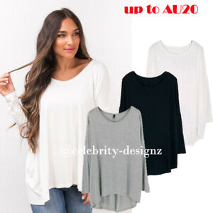 Womens-PLUS-SIZE-T-shirt-Loose-Fit-Batwing-Sleeve-Top-Black-Grey-White-8-18-tp17