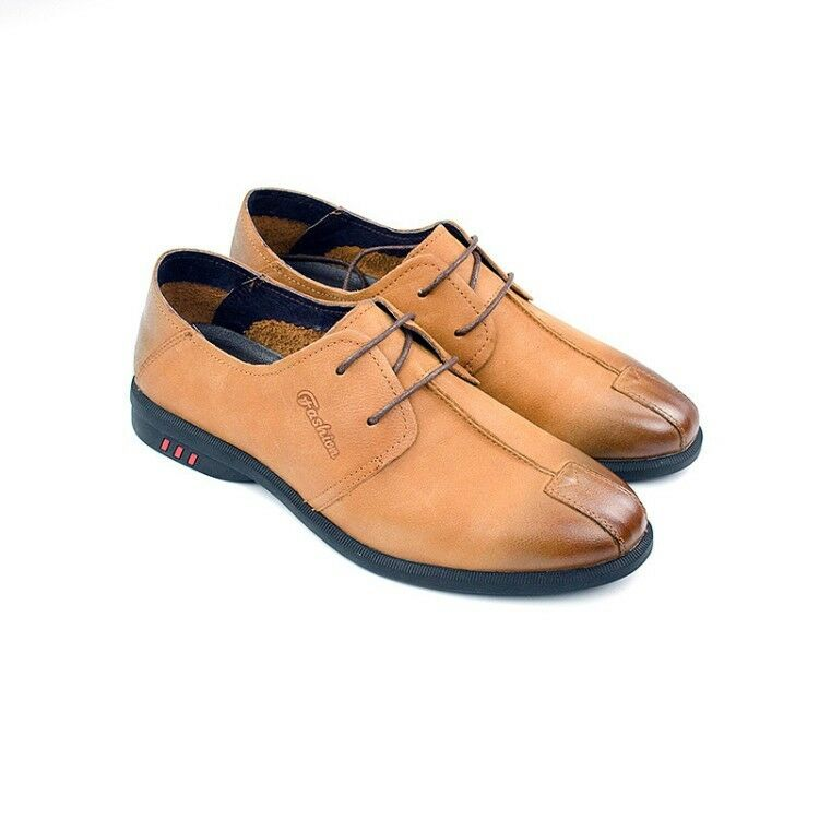 British Men's Round Toe Leather Lace Up Wedge Low Heel Solid Sports Formal Shoes