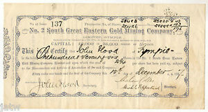 Share-Scrip-Mining-1887-No-2-South-Great-Eastern-Gold-Mining-Co-Gympie-Qld