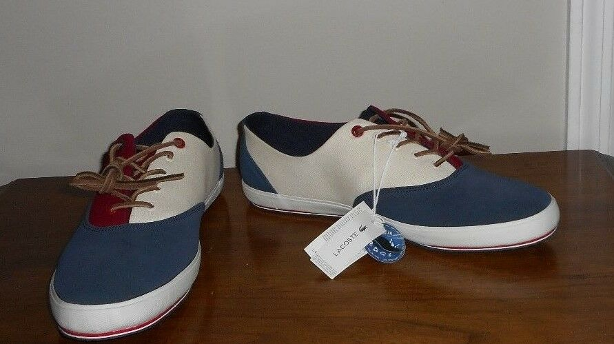 Scarpe casual da uomo  Lacoste Chaney 4 Navy/Red/Cream Canvas/Suede Fashion Sneakers Size 12 NWOB