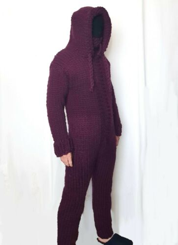 Hand knitted 100/% WOOL mens Jumpsuits sweater pants hoodie turtle woolen thick