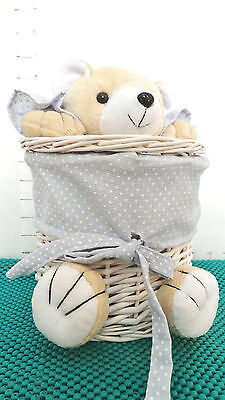 Bear, White Basket, Hobby Lobby, Brown Plush Bear, Blue Fabric, Nursery