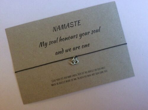Namaste la positividad deseo Pulsera Amistad Yoga Meditación Om Símbolo Namaste