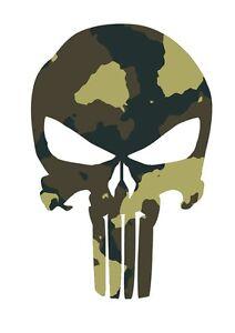 Punisher Skull Camo Vinyl Decal Sticker Vehicle Windshield