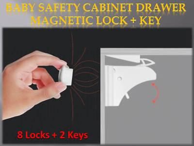 Set of 8 Locks + 2 Keys Magnetic Baby Safety Lock Cupboard Cabinet Drawer pg