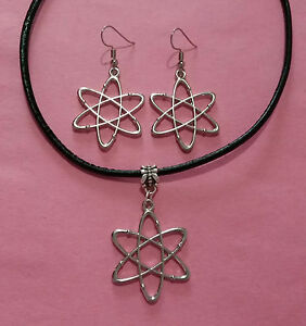 Big-Bang-Theory-Atom-Charm-Choker-Necklace-amp-Earrings-Set-or-Individual-Items