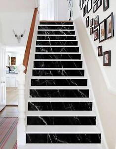 3d Black White Crack 1 Tile Marble Stair Risers Decoration Mural