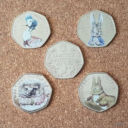 Set-of-Colour-Decal-50p-Coins-Rabbit-Duck-Beatrix-Potter-Nutkin-Gift