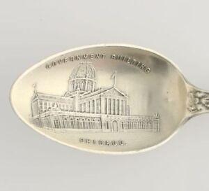 Chicago-Historic-Souvenir-Spoon-Sterling-Silver-Vintage-Collectors-Government