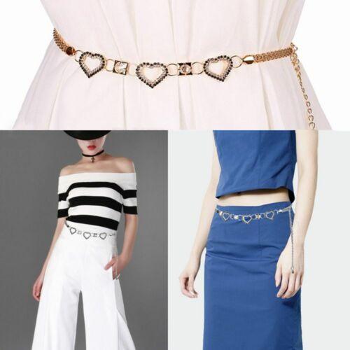 Metal Lady Fashion Elegant Heart Shape Belt Chain Rhinestone Waist Decor