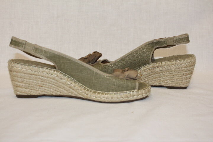 NWOB CLARKS  Petrina white  Women's Rope Wedge Wedge Wedge Sandals, Green & Brown, 9M-B85 3e684d