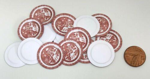 Casa de muñecas en miniatura 20 placas de papel Victoriano Rojo DD451 additionalitemsp /& Pfree