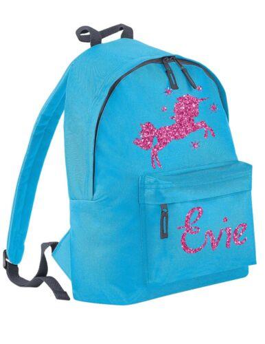 Personalised Kids Backpack Name Pink Glitter Unicorn /& Stars Girls School Bag