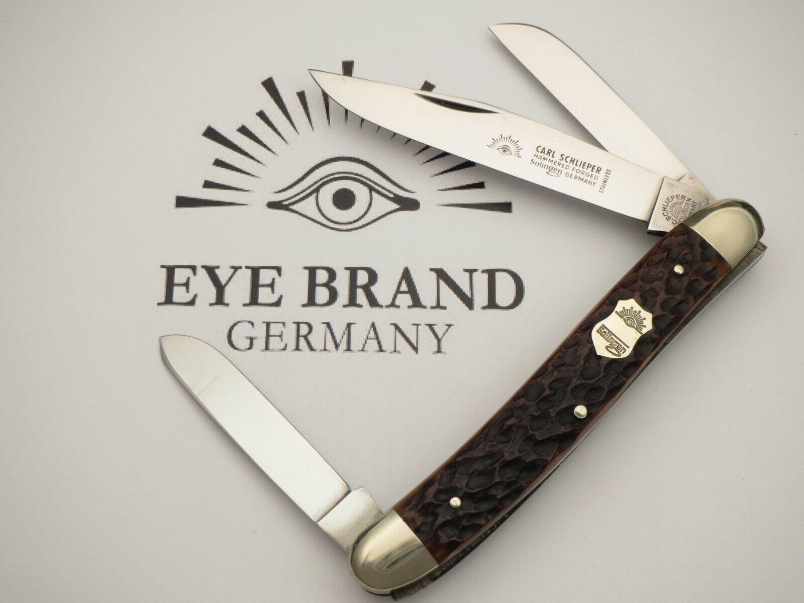 "Vintage EYE BRAND Jumbo 4-3/4"" Premium Stock Knife Stainless Nice Bone MINT"