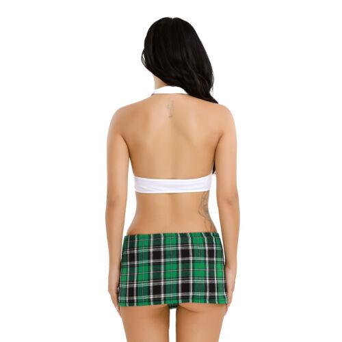 Women Naughty School Girl Lingerie Student Costume Mini Skirt Crop Top Uniform
