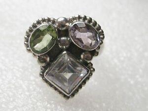 Beautiful Sterling Silver Peridot/Amethyst/Topaz Ring, size 7, 6.78 grams, NICE