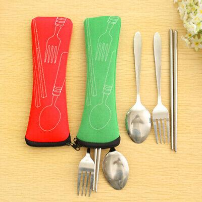 BG/_ 3 Pcs Fork Spoon Chopsticks Stainless Steel Cutlery Portable Camping Bag Swe