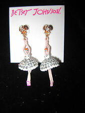 Betsey Johnson BALLERINA BLING DANGLE EARRINGS