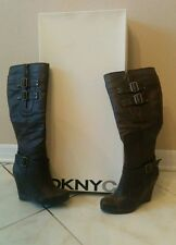 DKNYC Polly  chocolate boots. Wedge Brown 7