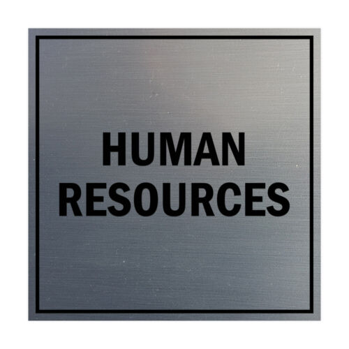 """Large 8x8/"""" Brushed Silver Square Human Resources Sign with Adhesive Tape"""