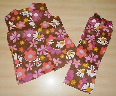 Umorismo Vintage Mai Indossata 1970s Ragazze Marrone E Rosa Floreale Tunica & Pantaloni Suit 2 A 5 Anni- Sconti Prezzo