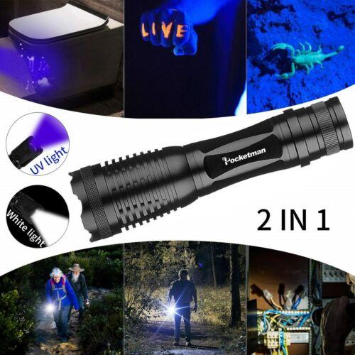 60000l m2 in 1 UV Flashlight LED Linterna Torch 395nm Ultraviolet Urine Detector