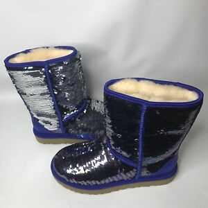 9409eb99d4ccc UGG Classic Short Navy Blue Sparkles Sequin Sheepskin Boots Size US ...