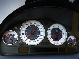 Tachoscheibe für BMW E38-E39/X5  *Weiß-Carbon*  300Kmh Benziner