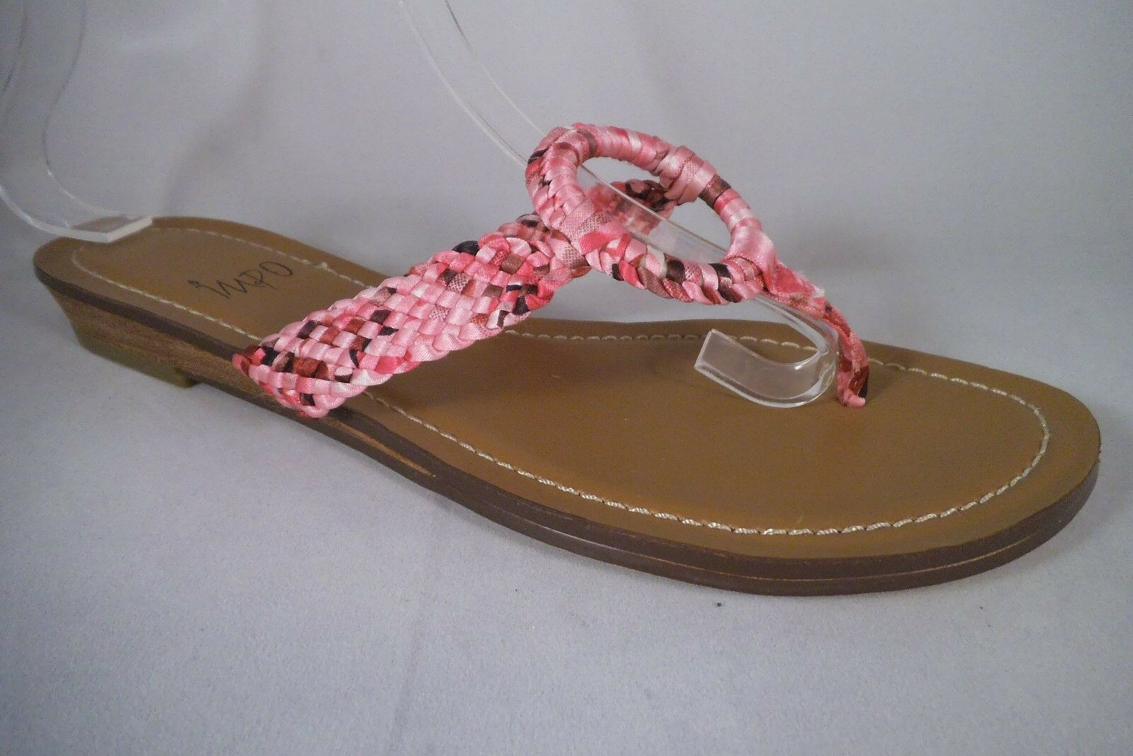 NEW IMPO  ABRIL  THONG SANDALS MULTI Coloreee rosa FABRIC WOVEN STRAPS NON SKID BAS