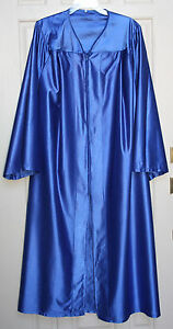 Medium Royal Blue Graduation Gown Shiny Choir Robe Clergy Costume Many Sizes