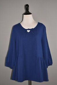 DENIM & CO NEW $42 3/4 Sleeve Top w/ Lace Trim Detailing in Blue Medium