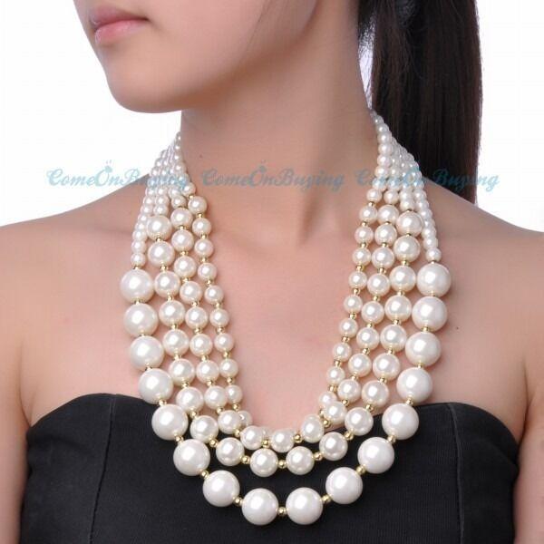Fashion Jewelry White Pearls Gold Beads 4 Layered Chain Pendant Bib Necklace
