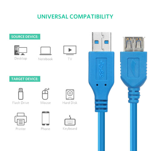 Female Extension Data Sync Transfer Data Cable Lot 3ft 6ft 10ft USB 3.0 A Male