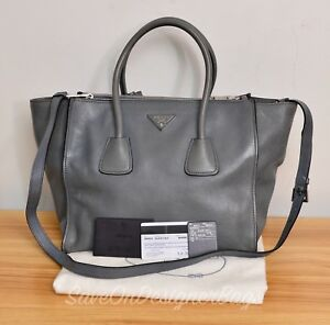 Prada-BN2619-Naturale-Glace-Calf-Leather-Twin-Pocket-2Way-Tote-Bag-GU-Authentic